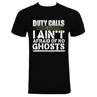 """Black Small (Mens 36"""" - 38"""") Duty Calls I Ain't Afraid Of No Ghosts Mens T-shirt"""