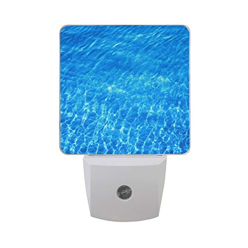 DFISKK Nachtlicht Set of 2 Bright Transparent Blue Clear Sea Water Tropical Summer Ocean Auto Sensor LED Dusk to Dawn Night Light Plug in Indoor for Adults -
