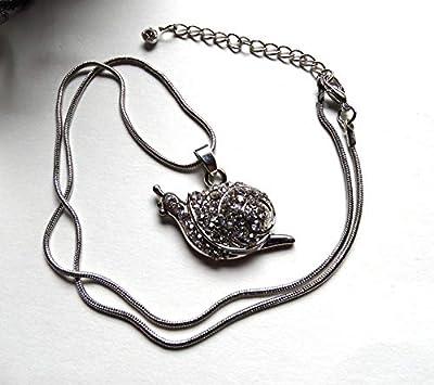 Pendentif collier escargot strassé argenté chaîne maille serpent/Idée cadeau femme, Noël, Saint Valentin, fête des mères, anniversaire