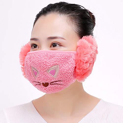 iSpchen Winter Mundmaske mit Ohrenschützer 2 in 1 Cartoon Nette Multifunktionale Warm Windproof Täglichen Gesichtsmaske Ohrwärmer Kinder Erwachsene Wassermelonenrot EINWEG