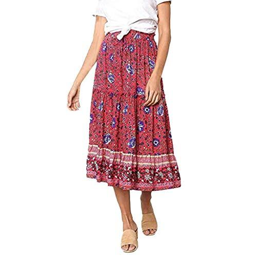 Go First Frauen Sommer Casual Daily Röcke Boho Floral Print Elastische Hohe Taille Plissee A Line Midi-Kleid (Color : Rot, Size : XL) (Junioren Für Tier-print-kleider)