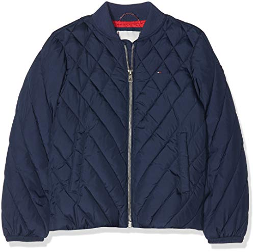 Tommy Hilfiger Mädchen Mixed Quilt Padded Jacket Jacke, Blau (Black Iris 002), 140 (Herstellergröße: 10) -