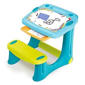 Smoby 420218 Schreibtisch Magic Blau, Kinder-Schreibtisch mit integrierter Sitzbank und Schublade aus Kunststoff für…