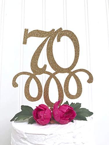 Andrea1Oliver Glitter 70 Cake Topper 70 Jahre geliebt Cake Topper Siebzig Cake Topper 70. Geburtstag Nana Topper Oma Cake Opa Happy 70. Geburt