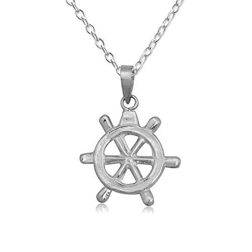 EYS JEWELRY® Damen-Halskette 60 cm Dharma-Rad Symbol 25 x 23 mm blank 925 Sterling Silber silber im Etui Damenkette Anhänger -