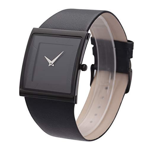 Armbanduhr Uhr minimalistisch Männer quadratisch schwarz Zifferblatt Business Style SIBOSUN Leder Strap Quarz Analog