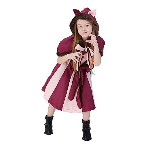 WEGCJU Kinder Smiley Katze Lila Mädchen Cosplay Kostüm Alice Im Wunderland Fantasie Katze Halloween Thema Party Kleidung,Red-S