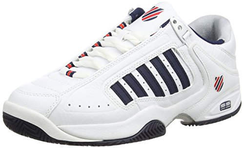K-Swiss Defier RS, Herren Tennisschuhe, White (White/Dressblue/Fieryred 164), 42.5 EU (8.5 UK)