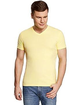 oodji Ultra Herren Tagless T-Shirt Basic mit V-Ausschnitt