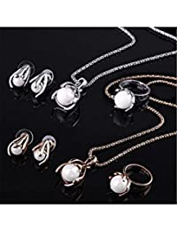ELECTROPRIME Fashion Women Alloy Chain Faux Pearl Pendant Necklace Earrings Ring Jewelry Set