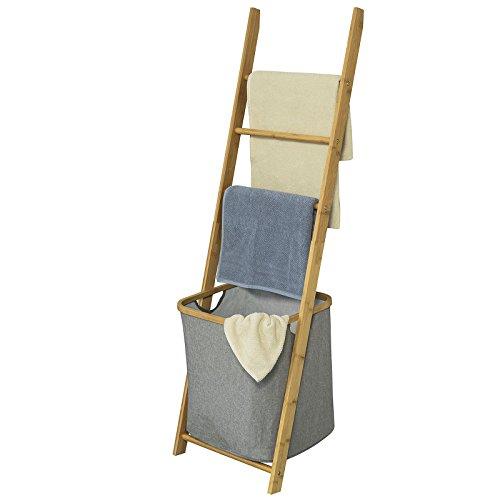 Bambus-wand-handtuchhalter (SoBuy® FRG263-N Freistehender Handtuchhalter, Handtuchleiter, Badregal mit 3 Handtuchstangen und Wäschebeutel, BHT ca.: 44x138x27cm)