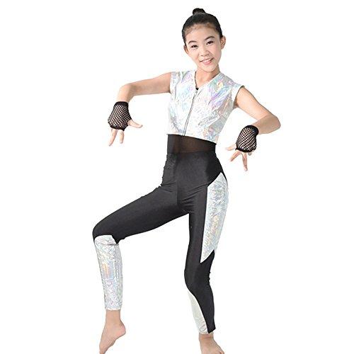 MiDee 3 Stück Mädchen Vereitelt Tank Top Hip Hop Tanz Kostüme (Silber, (Wettbewerbs Für Kostüme Mädchen Tanz)