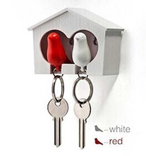 ANKKO Paar Spatzen Vogel Schlüsselanhänger Pfeife Vogelhäuschen Schlüsselhalter (Rot und Weiß)