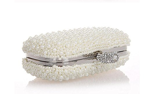 Damen Abendtasche Diamantperle Abendessen Paket High-End-volle Diamant-Handtasche Bankett-Paket White