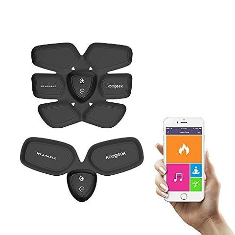 Koogeek Smart Fitness-Gerät Elektronische Abdominale Fitness-Studio Fettverbrennung (Für Bauchmuskeln) Und Fettverbrennung für Arm Fit Training mit Wireless-Charging Pad App-Funktion Schwarz