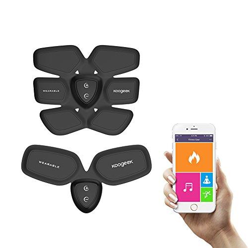 Koogeek Estimulador Muscular Quema de Grasa 1 para Abdomen y 1 para Brazo Fitness Gear con Cargador Inalambrico App Gratis parar Andriod IOS