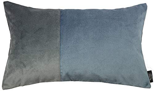 McAlister Textiles Matter Samt | Kissenbezug für Sofakissen zweifarbiges Patchwork in Anthrazit & Petrol Blau | 50 x 30cm | griffester weicher Samt | Deko Kissenhülle für Couch, Sofa -