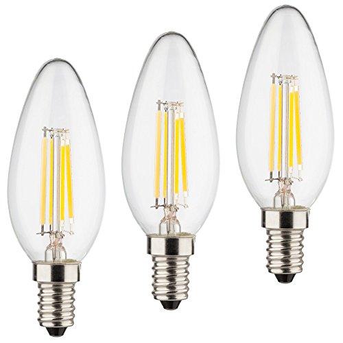 MÜLLER-LICHT 3er-Set Retro-LED Kerzenform Ersetzt 40 W, Glas, E14, 4 W, Klar, 3.5 x 3.5 x 10 cm, 3 Einheiten -