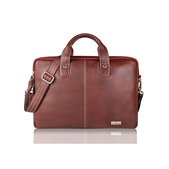 Leaderachi Brown Leather 15 inch Laptop Messenger Briefcase Bag [Salvador,Brown]