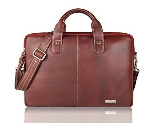 Leaderachi Brown 100% Genuine Leather 15 inch Laptop Messenger Briefcase Bag [ SALVADOR ] Summer Sale Special