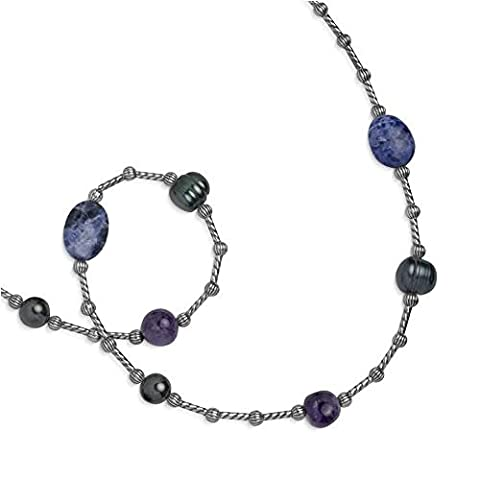 Carolyn Pollack Sterling Silver Amethyst Hematite Sodalite Freshwater Cultured Pearls Beaded Necklace