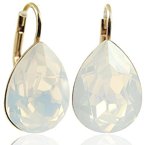 Ohrringe mit Kristallen von Swarovski® Gold White Opal NOBEL - Opal Gold Und