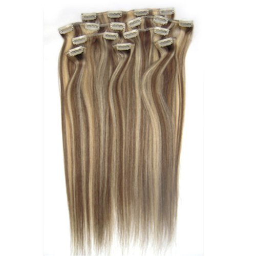100% cheveux remy Lot de 8 38,1 cm Brun/Blond (# 8/613) cheveux raides à clipser pour extension de cheveux Poids : 100 g