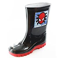 Boys Kids Novelty Spiderman Cartoon Character Wellies Wellington Boots UK1 Black