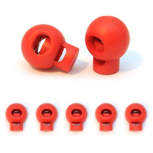 5er SET Kordelstopper/Kordelklemme (Tanka) Ø 18mm für Seile, Jacken uvm. aus Kunststoff, Farbe: Rot - Marke Ganzoo