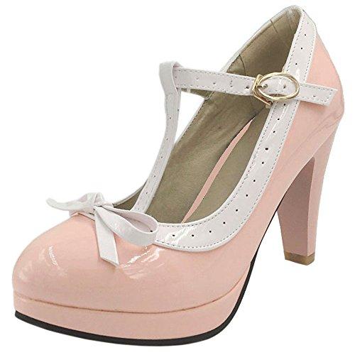 COOLCEPT Damen T-Spange Pumps Hohe Ferse Schuhe Extra Sizes 16 Colors Pink