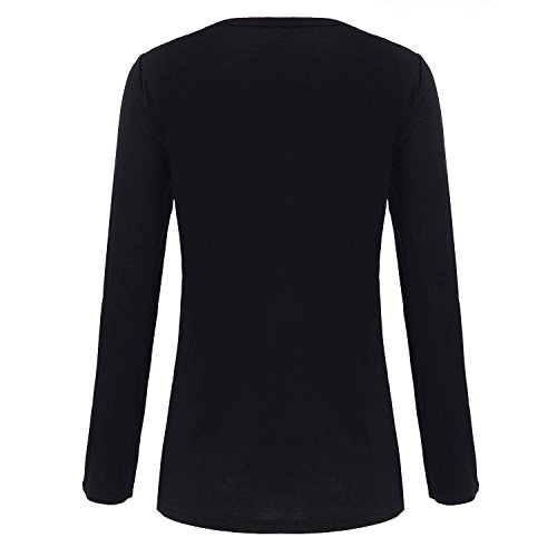 Damen Bluse Shirt Schluppenbluse mit tiefer Kragenschnitt Schwarz
