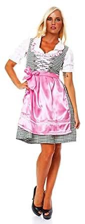 10314 Fashion4Young Damen Dirndl 3 tlg.Trachtenkleid Kleid Mini Bluse Schürze Oktoberfest 4 Fa. 4Gr. (34, Rosa Grün)