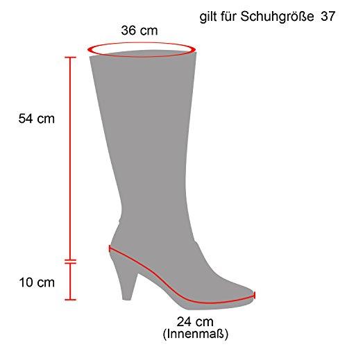Stiefelparadies Damen Stiefel Overknees Wildleder-Optik Blockabsatz Schuhe Langschaftstiefel Boots Schleifen Flandell Rot Arriate