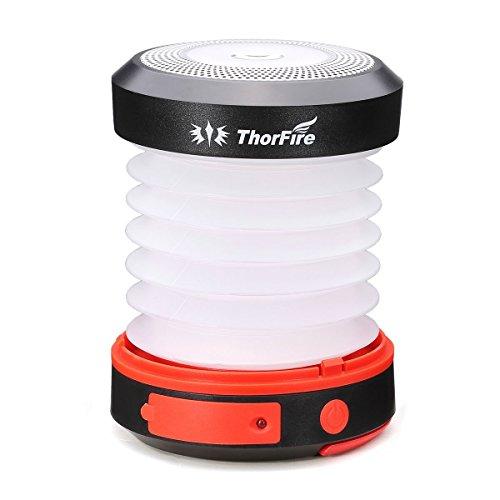 ThorFire 1600 mAh LED Campinglampe Solar LED Laterne Campingleuchte Camping Zelt Laterne Taschenlampe mit SOS und Power Bank Funktion, mit USB und Solarpanel Aufgeladen, CL04