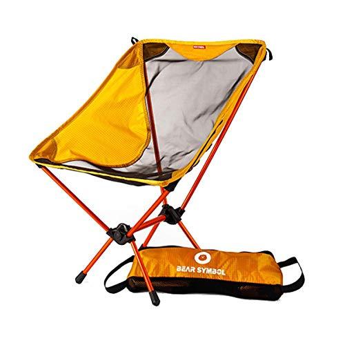 Klappbar Campingstühle Ultraleicht, Angelstuhl Klappstuhl Moonchair Camping Hocker mit Rückenlehne, Tragetasche für Angeln/Wandern/Picknick/bis zu 150kg Orange
