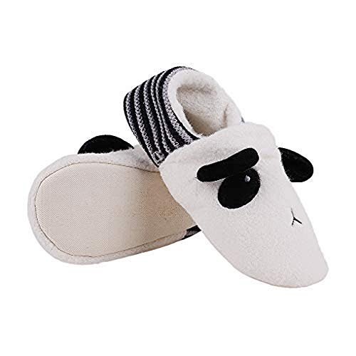 Women Cute Panda Plush Slippers Soft Warm Ankle Bootie Striped Knitted House Shoes Cartoon Thermal Slipper Socks Thicken Lining Cosy Clog Mule Anti-slip Home Footwear Fluffy Indoor Outdoor Slippers