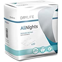Drylife All Nights Empapadores Desechable para Incontinencia - 40x60cm (1 Paquete de 20)