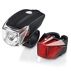 LED Akku Fahrradbeleuchtung Set StVZO - Fahrradlampen Set - Vorderlicht und Rücklicht - zugelassen nach StVZO - Schnellbefestigung - Befestigungs Clip - Fahrradlicht Fahrradlampe Fahrradleuchte