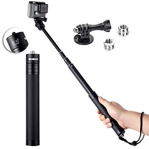 Homeet Teleskopstange für GoPro, 73CM Selfie Stick All Aluminium Erweiterbar Action Cam Monopod für DJI OSMO Action, SJCAM, Akaso, Garmin Virb, YI 4K, Victure, Qumox, Crosstour, Apeman Action Kamera