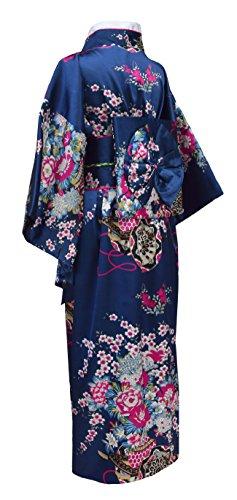 Japanischer geisha Kimono dunkelblau mit Obi-Gürtel - 2