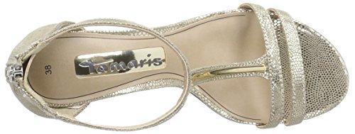 Tamaris - 28311, Scarpe col tacco con cinturino a T Donna Oro (Gold (LT.GOLD STRUC. 932))
