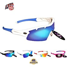RayZor Professional Lightweight UV400 White Sports Wrap Cricket Sunglasses, W..