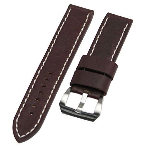 rechere 22mm breites Leder Uhrenarmband Kontrastnähten mit schweren edelstahl Schnalle Farbe Braun