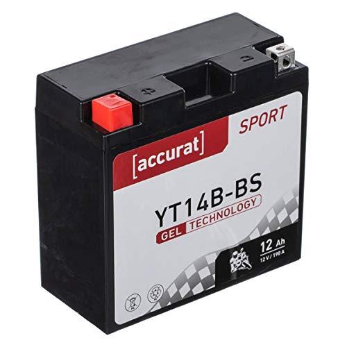 Accurat Motorradbatterie YT14B-BS 12Ah 190A 12V Gel Technologie Starterbatterie in Erstausrüsterqualität zyklenfest sicher lagerfähig wartungsfrei
