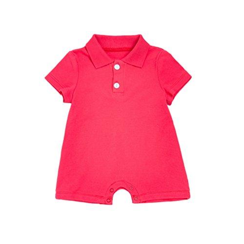 Yiiquan Neugeborenes Baby Mädchen Jungen Revers Strampler Kurzarm Jumpsuits Overall Spielanzug Ausstattungs Sommer Baby Kleidung