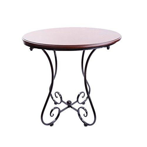 LXYFMS Européenne Table Basse en Fer Forgé Bois Simple Balcon Loisirs Table Ronde Coin Table Basse Coin Quelques Table Pliante (Couleur : A, Taille : 60 * 65CM)