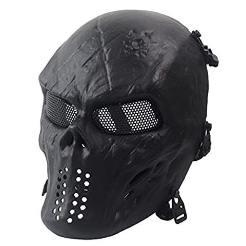 Malloom® Halloween-Maske Airsoft Paintball Voll Gesicht Schädel-Skeleton CS Maske Tactical Military Mask (schwarz)
