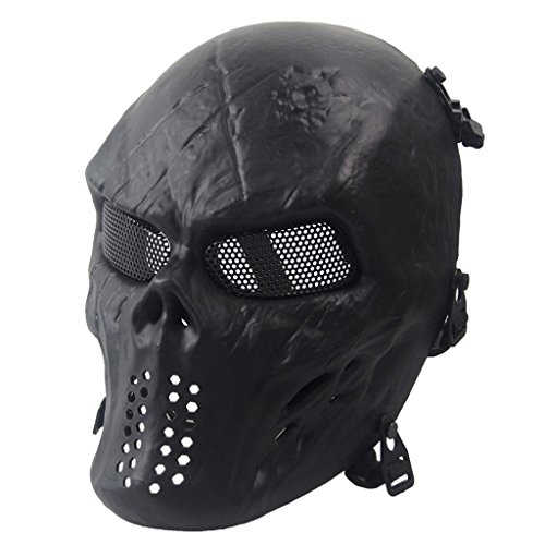 Malloom® Halloween-Maske Airsoft Paintball Voll Gesicht Schädel-Skeleton CS Maske Tactical Military Mask (Kostüm Soft Ball)