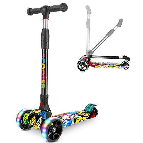 Kinder Scooter, Kinderroller Dreirad mit Verstellbarem LED Rollen Graffiti Scooter Roller Klappbarer City-Roller Sport Kinder Scooter Höhenverstellbar Kinder ab 5-14 Jahren