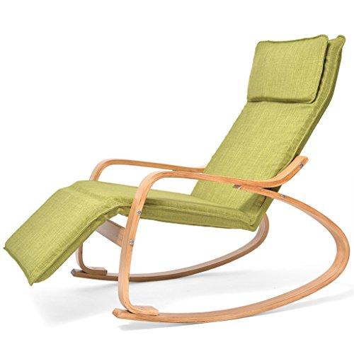 QINGPINGGUO QPG Massivholz Schaukelstuhl Lounge Chair Office Mittagspause Stuhl Stoff Sessel Balkon Schaukelstuhl Recliner Lazy Chair (Farbe : A) -